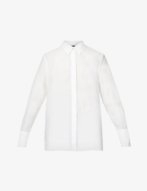 THE KOOPLES: Semi-sheer cotton and silk-blend shirt