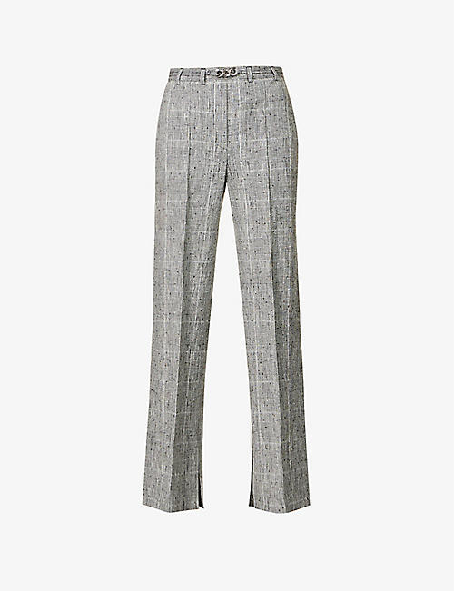 THE KOOPLES: High-rise straight-leg linen and silk-blend trousers