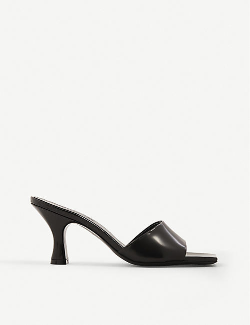 THE KOOPLES: Square-toe leather heeled mules
