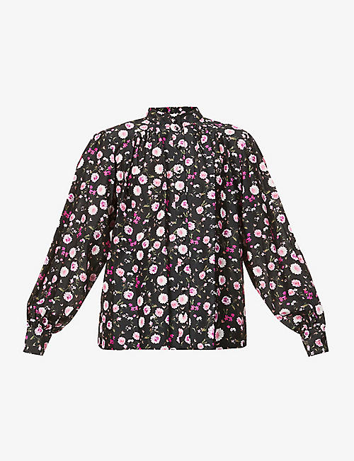 THE KOOPLES: Floral print cotton and silk-blend blouse