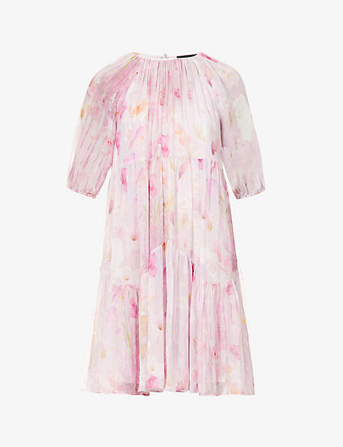 THE KOOPLES: Flower-printed chiffon mini dress
