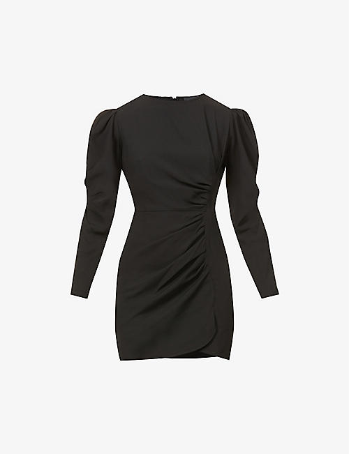 THE KOOPLES: Puff-sleeved gathered woven mini dress