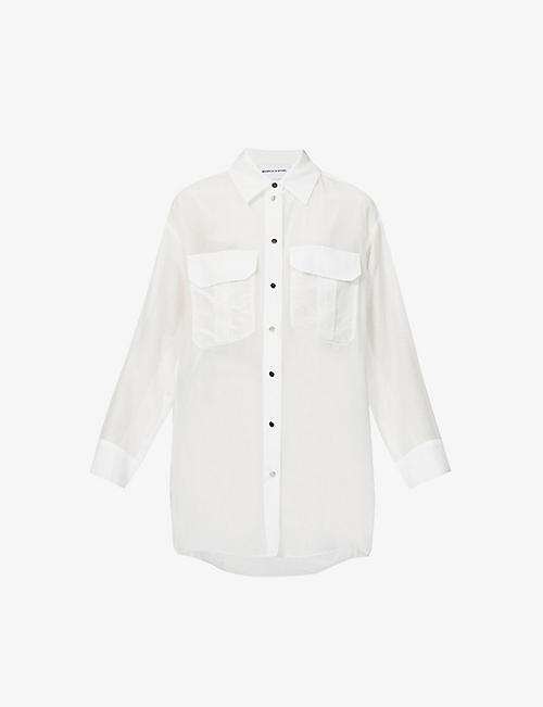 THE KOOPLES SPORT: Branded loose-fit cotton and silk-blend shirt
