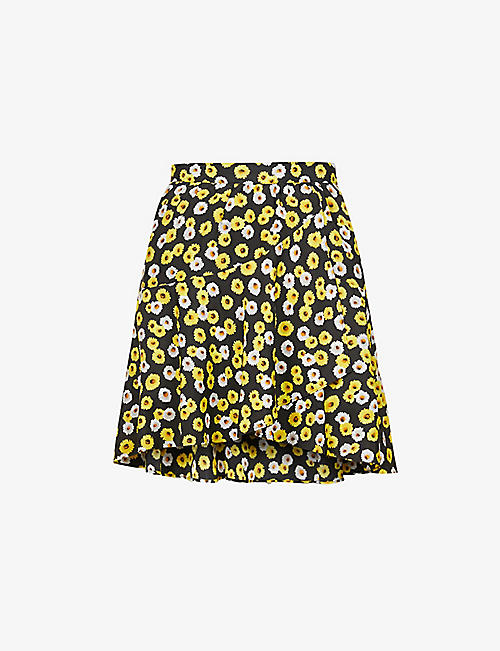 THE KOOPLES SPORT: Floral-print high-waist crepe mini skirt