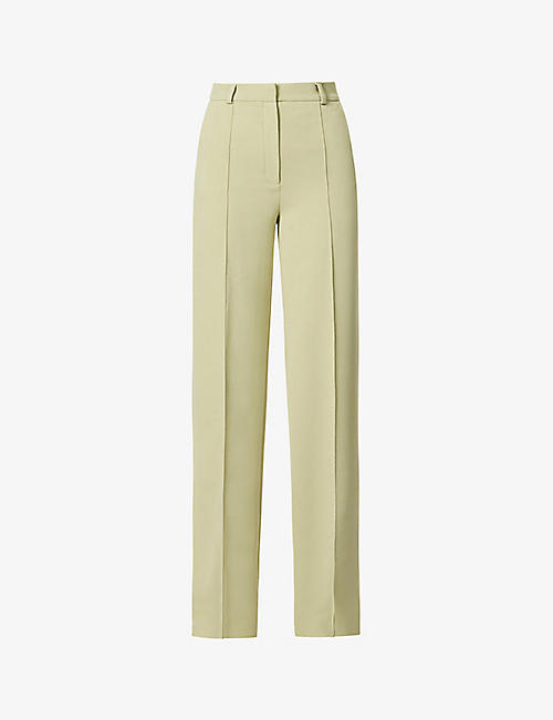 LESYANEBO: Wide-leg high-rise woven trousers