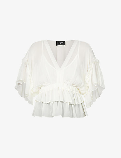 THE KOOPLES: Frilled V-neck crepe top