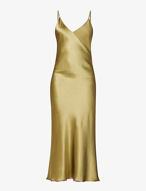 LESYANEBO: Reversible satin-crepe midi dress