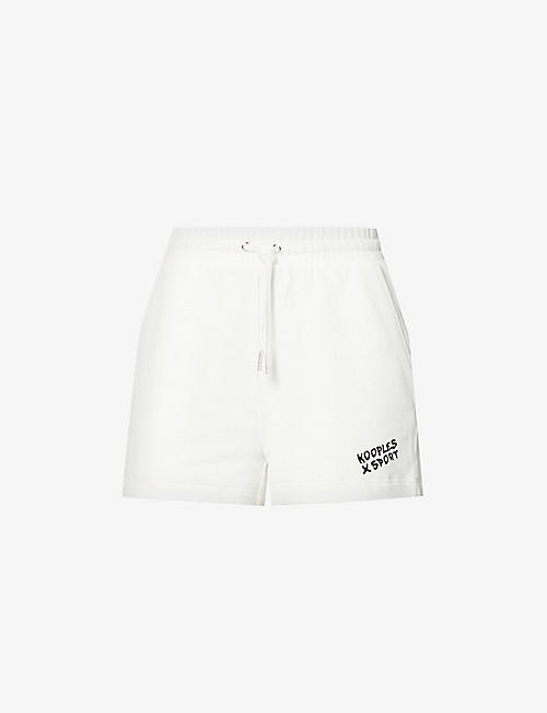 THE KOOPLES SPORT: High-rise relaxed-fit cotton-jersey shorts