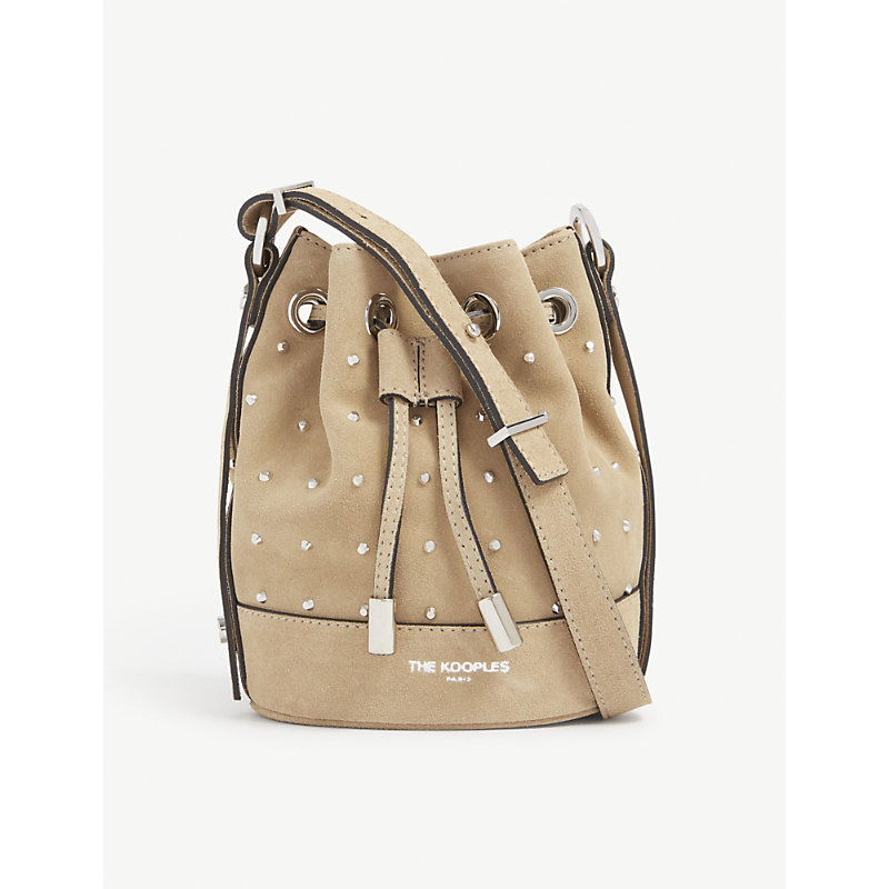 Tina small brand-embossed suede bucket bag