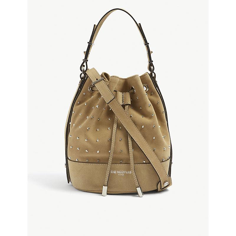 Tina stud-embellished suede bucket bag
