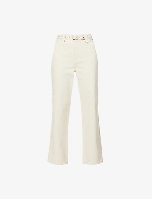 THE KOOPLES: High-rise wide-leg cotton-twill trousers