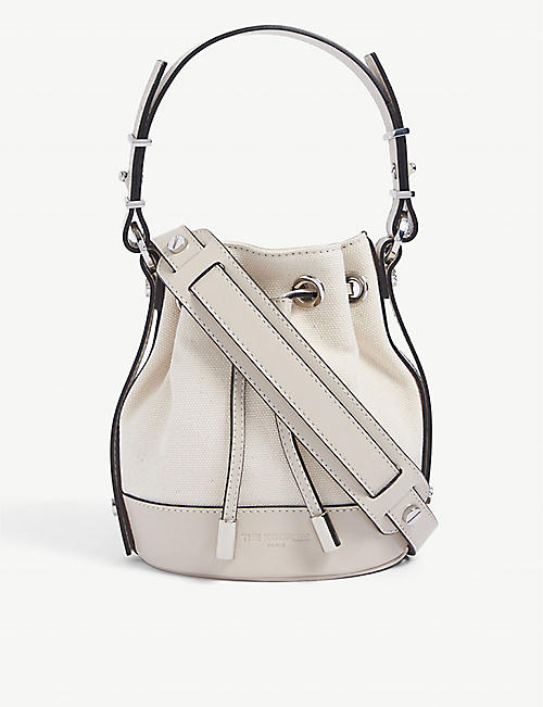 THE KOOPLES: Tina medium brand-embossed leather bucket bag