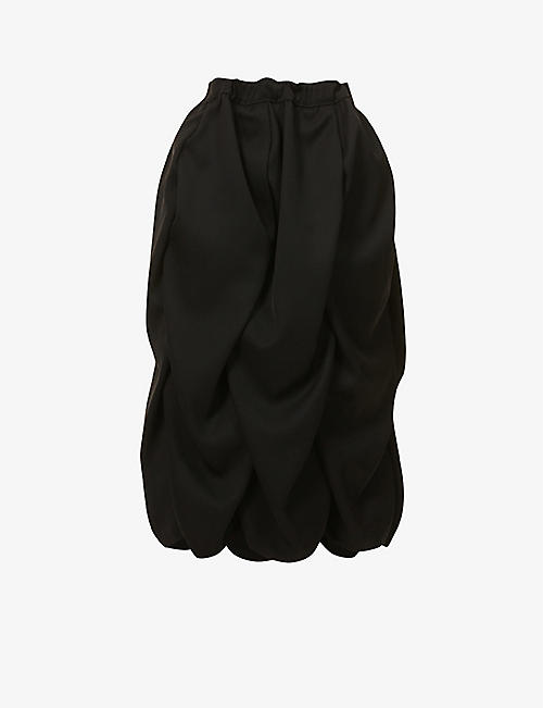 COMME DES GARCONS: Ruched high-waist twill midi skirt
