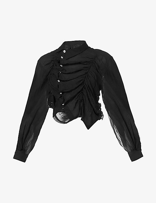 COMME DES GARCONS: Ruched cropped crepe shirt