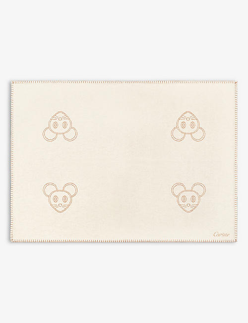 CARTIER: Cartier Baby mouse-embroidered wool and cashmere-blend blanket