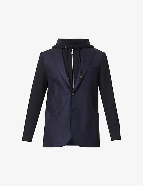 ELEVENTY: Single-breasted hooded wool jacket