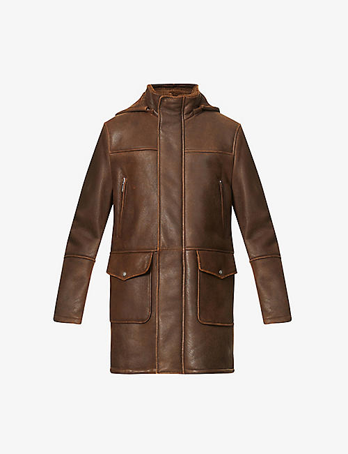 ELEVENTY: Shearling-lined leather duffel coat
