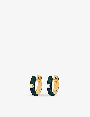 THE ALKEMISTRY: EF Collection Huggie 14ct yellow-gold, enamel and diamond earrings
