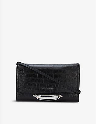 ALEXANDER MCQUEEN: Story croc-embossed leather shoulder bag