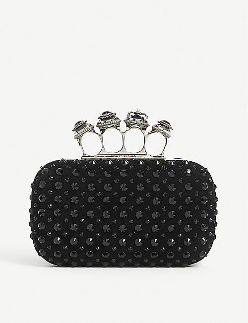 ALEXANDER MCQUEEN: Spider-embellished knuckleduster leather box clutch bag