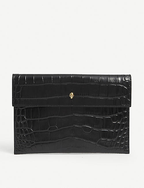 ALEXANDER MCQUEEN: Skull-embellished crocodile-embossed leather envelope pouch