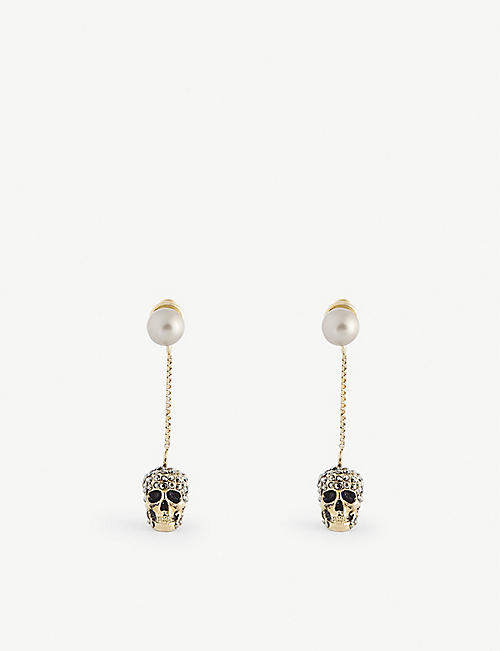 ALEXANDER MCQUEEN: Skull and faux-pearl-embellished earrings