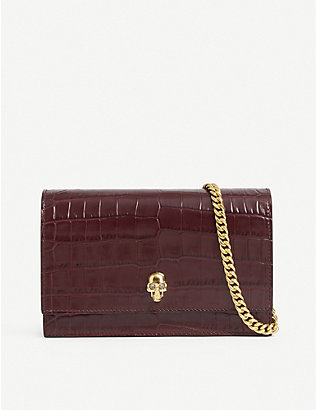 ALEXANDER MCQUEEN: Skull motif mini croc-embossed cross-body bag