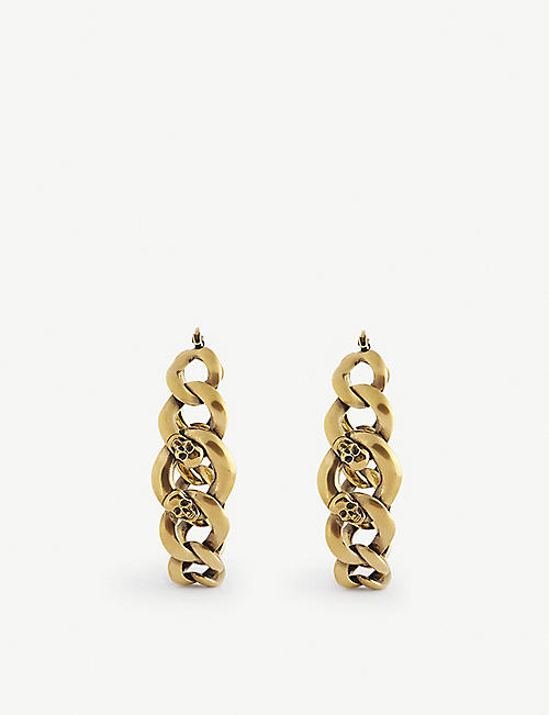 ALEXANDER MCQUEEN: Skull-detail chain silver-tone brass earrings