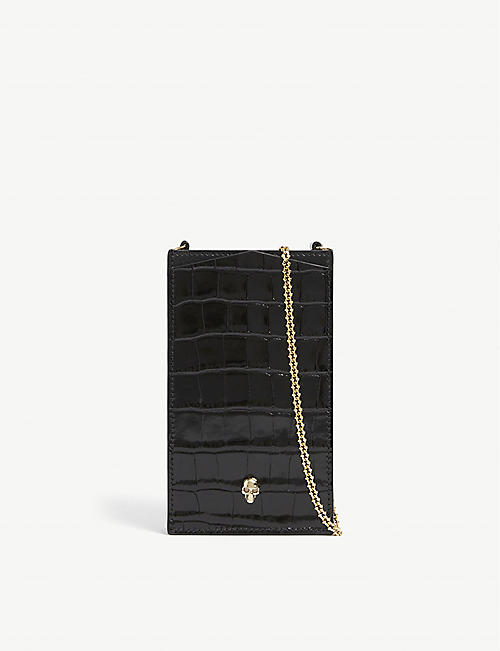 ALEXANDER MCQUEEN: Skull-motif crocodile-embossed leather phone case on chain