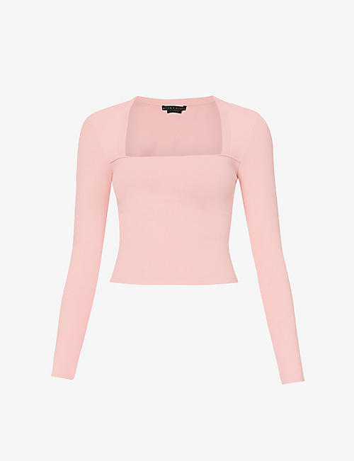 ALICE & OLIVIA: Ricarda long-sleeve stretch-knit top