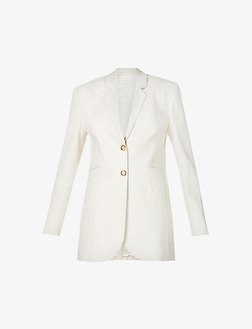 LA COLLECTION: Valentina single-breasted linen blazer