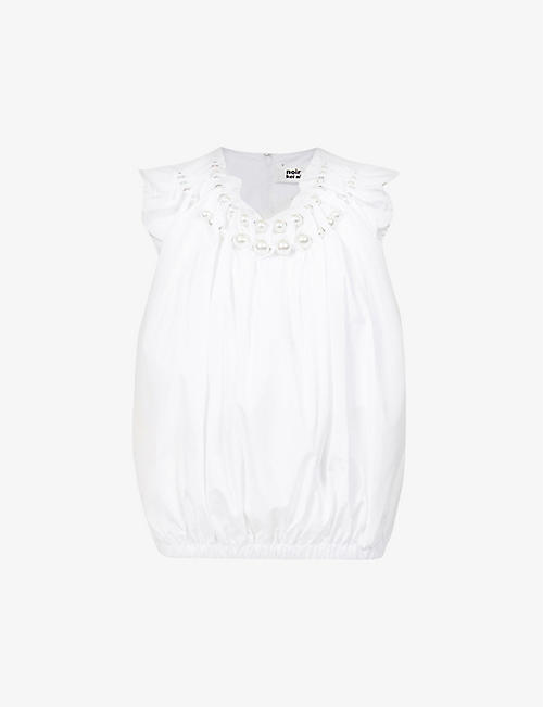 NOIR KEI NINOMIYA: Pearl-embellished cotton-poplin top