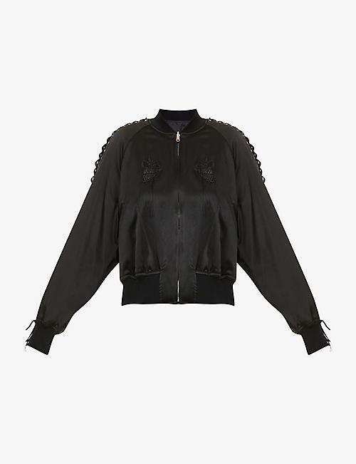 NOIR KEI NINOMIYA: Embroidered silk bomber jacket