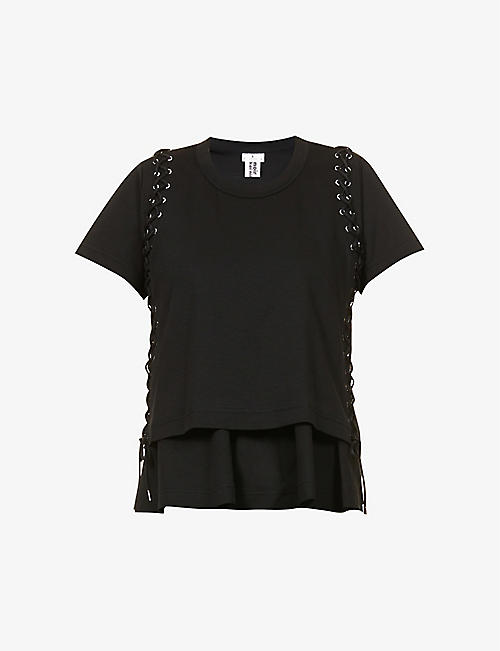 NOIR KEI NINOMIYA: Lace-up cotton-jersey T-shirt