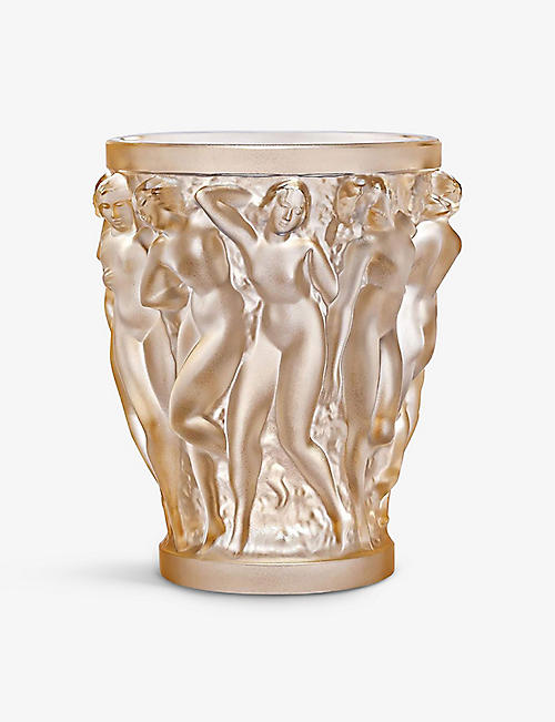 LALIQUE: Bacchantes small gold-crystal vase 14.6cm