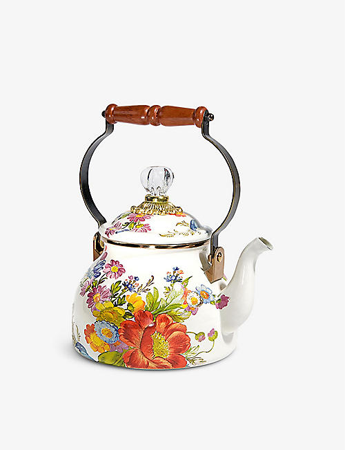 MACKENZIE CHILDS: Flower Market floral-print enamel tea kettle 2.2L