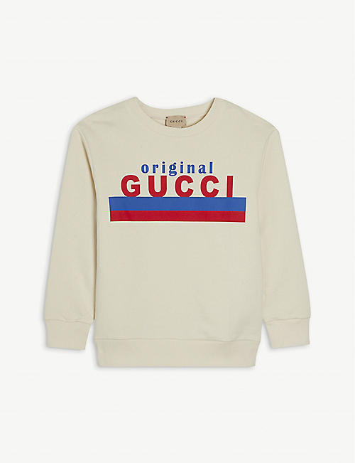 GUCCI: Logo-print cotton-jersey sweatshirt 4-10 years