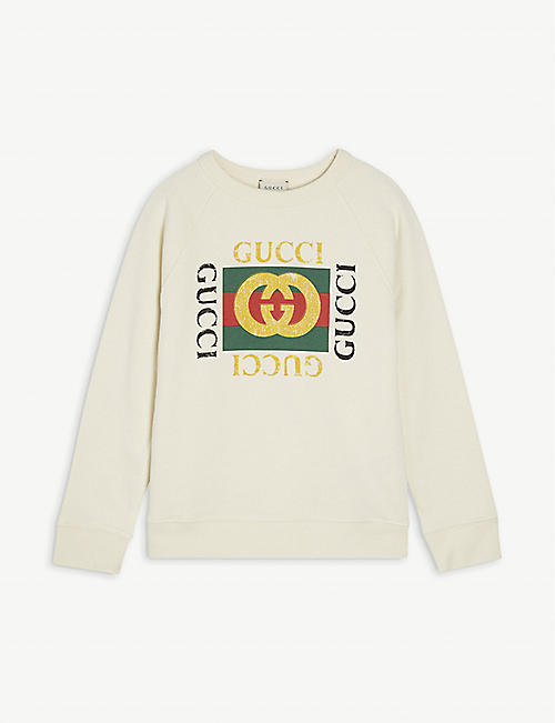 GUCCI: GG logo cotton sweatshirt 6-10 years