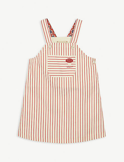 GUCCI: Striped cotton dungaree dress 36 months