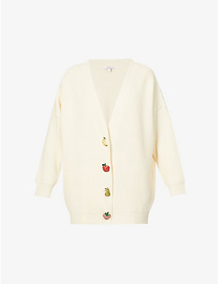 OLIVIA RUBIN: Frankie embellished fruit-button knitted cardigan