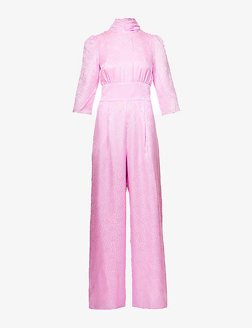 OLIVIA RUBIN: Blake animal jacquard silk-satin jumpsuit
