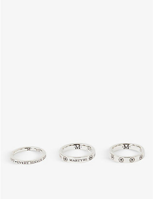 MARTYRE: Sinner set of three sterling-silver rings