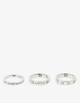 MARTYRE: Sinner set of three sterling-silver and brilliant-cut diamond rings