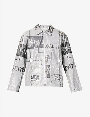 STUDIO ALCH: Upcycled Studio ALCH x Royal Mail graphic-print woven jacket