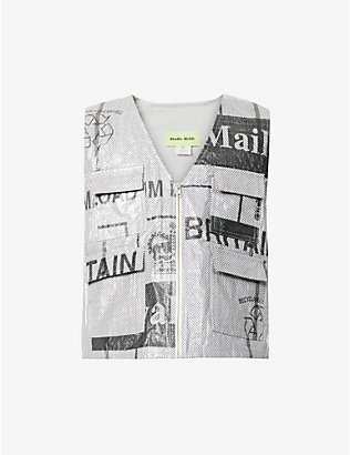 STUDIO ALCH: Upcycled Studio ALCH x Royal Mail graphic-print woven gilet