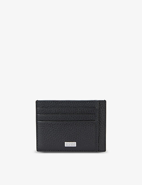 BOSS: Crosstown brand-plaque leather card holder