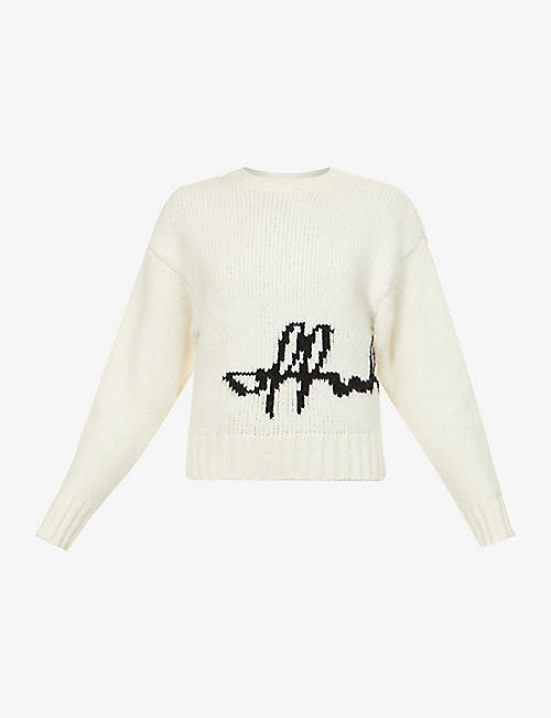 OFF-WHITE C/O VIRGIL ABLOH: Brand-woven brushed alpaca-blend jumper