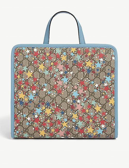 GUCCI: Kids GG star print coated-canvas tote bag