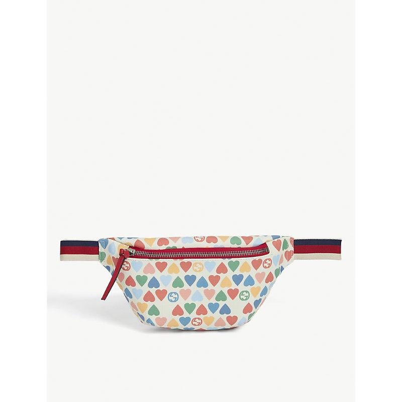 Gucci Kids Heart-print Coated Canvas Belt Bag In Multi