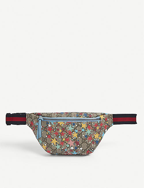 GUCCI: Kids star-printed canvas bumbag